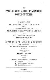 De verborum apud Pindarum conlocatione ...