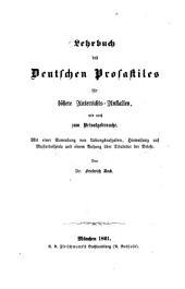 Theorie der Prosa und Poesie: Ein Leitfaden für den Unterricht in der Stilistik(Rhetorik) und Poetik an Gymnasien und verwandten Lehranstalten wie auch zum Privatgebrauche, Band 1