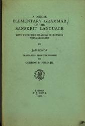 A Concise Elementary Grammar Of The Sanskrit Language Book PDF