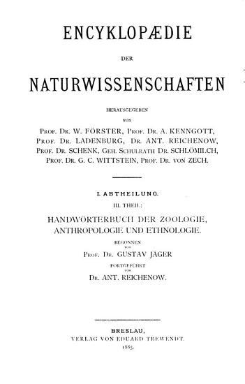 Handw  rtebuch der Zoologie  Anthropologie und Ethnologie  Bd  Elopini Haliotis PDF