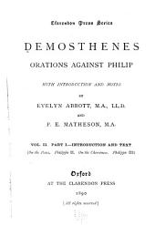 Orations against Philip: On the peace. Phillippic II. On the Chersonese. Phillippic III