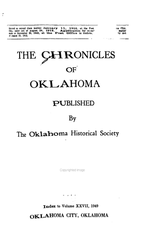 Chronicles of Oklahoma PDF