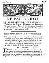 De par le Roi, et Nosseigneurs les présidens, trésoriers de France, généraux des finances... Ordonnance de voyerie, qui condamne un particulier y dénommé en l'amende de vingt-cinq livres... Du 14 avril 1769 Signé Bidault