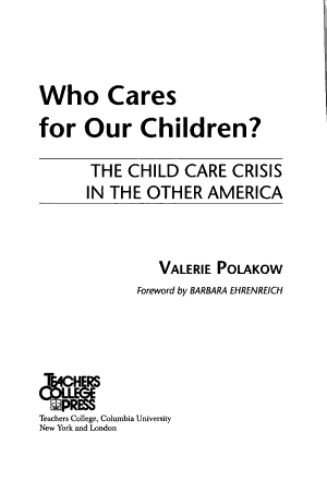 Who Cares for Our Children  PDF