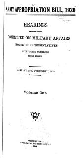 Army Appropriation Bill, 1920: Hearings Before the Committee on Military Affairs, House of Representatives, Sixty-fifth Congress, Third Session