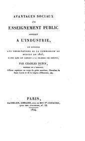 Avantages sociaux d'un enseignement public appliqué a l'industrie: en réponse aux observations de la Commission du budget de 1825