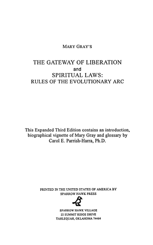 Mary Gray s The Gateway of Liberation   And  Spiritual Laws