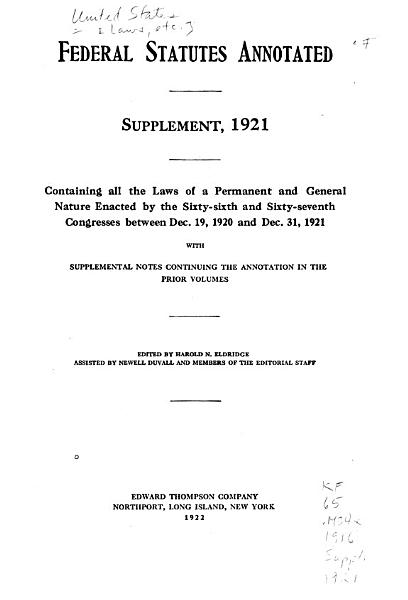 Download Federal Statutes Annotated Book