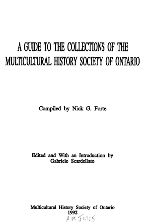 A Guide to the Collections of the Multicultural History Society of Ontario PDF