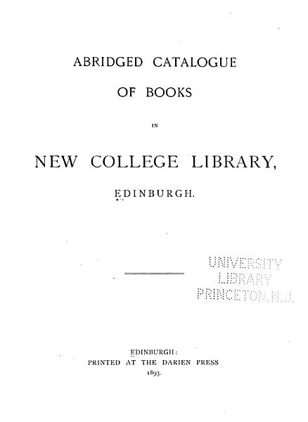 Download Abridged Catalogue of Books in New College Library  Edinburgh Book