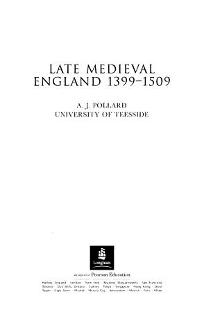 Late Medieval England  1399 1509 PDF