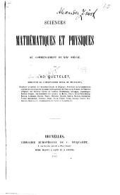 Sciences mathématiques et physiques au commencement du XIXe siècle