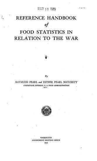 Reference Handbook of Food Statistics in Relation to the War PDF