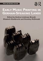 Early Music Printing in German Speaking Lands PDF