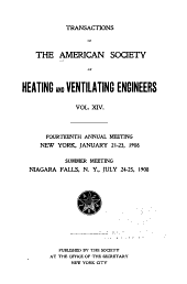 Transactions of the American Society of Heating and Ventilating Engineers: Volume 14