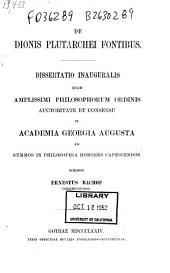 De Dionis Plutarchei fontibus ...