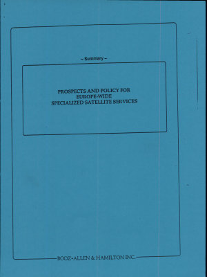 Prospects and Policy for Europe Wide Specialized Satellite Services PDF