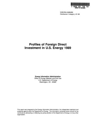 Profiles of Foreign Direct Investment in U S  Energy PDF