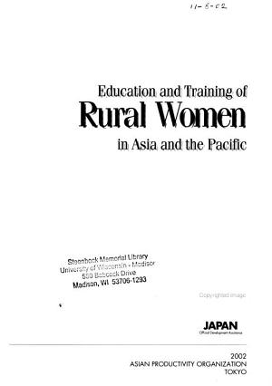 Education and Training of Rural Women in Asia and the Pacific PDF
