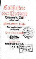 Ecclesiastes  oder Prediger Salomonis PDF