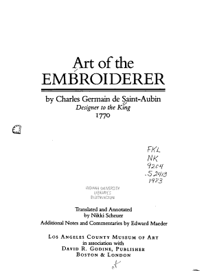 Art of the Embroiderer PDF