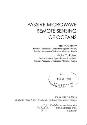 Passive Microwave Remote Sensing of Oceans PDF