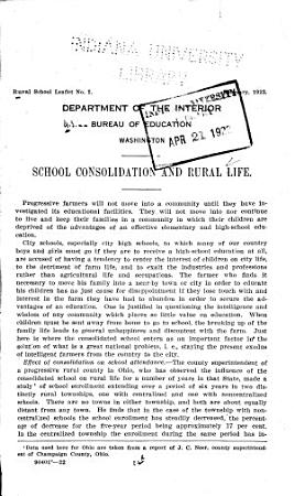 School Consolidation and Rural Life PDF