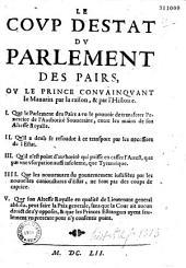Le Coup d'estat du parlement des pairs ou le Prince convainquant le Mazarin pour la raison et par l'histoire... [par Dubosc Montandré]