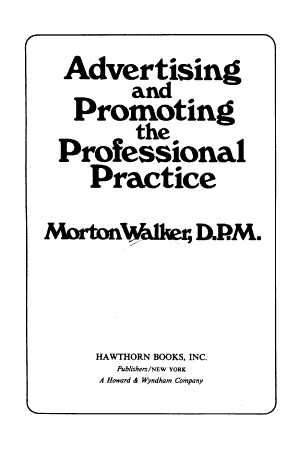 Advertising and Promoting the Professional Practice PDF