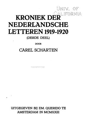Kroniek der nederlandsche letteren 1916 1920 PDF