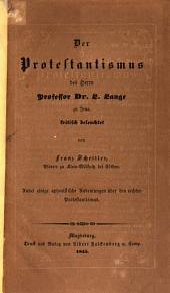 Der Protestantismus des Herrn Prof. Dr. L. Lange zu Jena, kritisch beleuchtet