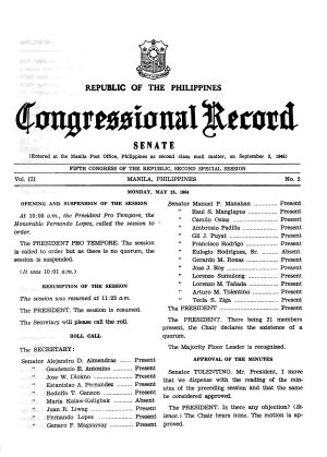 Republic of the Philippines Congressional Record PDF