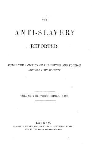 The Anti slavery Reporter