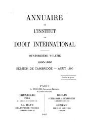 Annuaire de l'Institut de droit international: Volume 14
