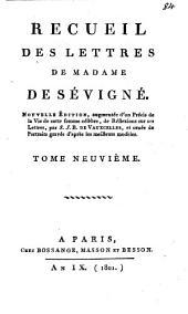 Recueil des lettres de Madame de Sévigné: Volume9