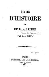 Études d'histoire et de biographie