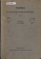 Papers of the Institute of Jewish Studies London PDF