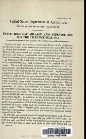State highway mileage and expenditures for the calendar year 1915