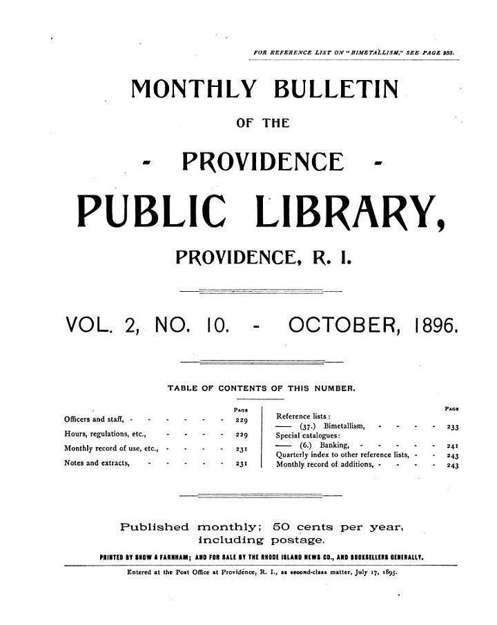 Monthly Bulletin for the Providence Public Library ...