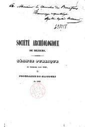 Société archéologique de Béziers. Séance publique du premier juin 1848, et Programme du Concours de 1849