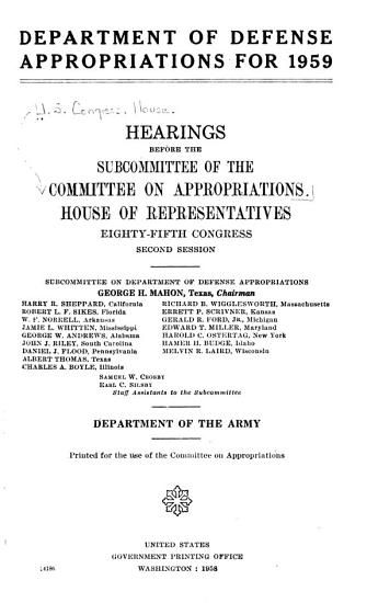 Department of Defense Appropriations for 1959  Department of the Army PDF
