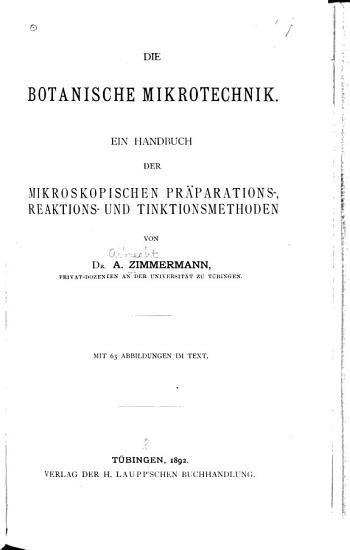 Die botanische mikrotechnik PDF