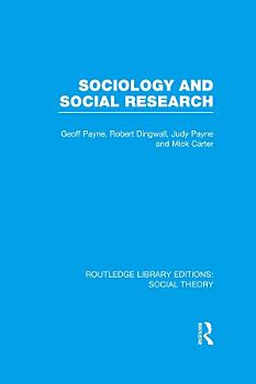 Sociology and Social Research  RLE Social Theory  PDF