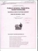 Public School Principal Questionnaire Schools and Staffing Survey, 1993-94 School Year