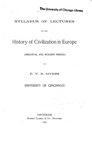 Syllabus of Lectures on the History of Civilization in Europe