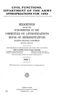 Civil Functions  Department of the Army  Appropriations for 1953 PDF