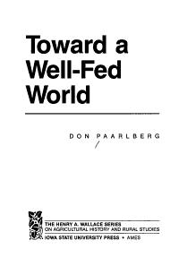 Toward a Well fed World