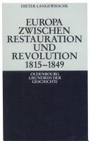 Europa zwischen Restauration und Revolution 1815 1849 PDF