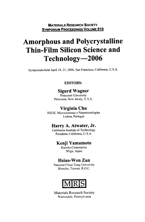 Amorphous and Polycrystalline Thin film Silicon Science and Technology  2006 PDF