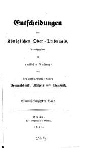 Entscheidungen des Königlichen Obertribunals: Band 71